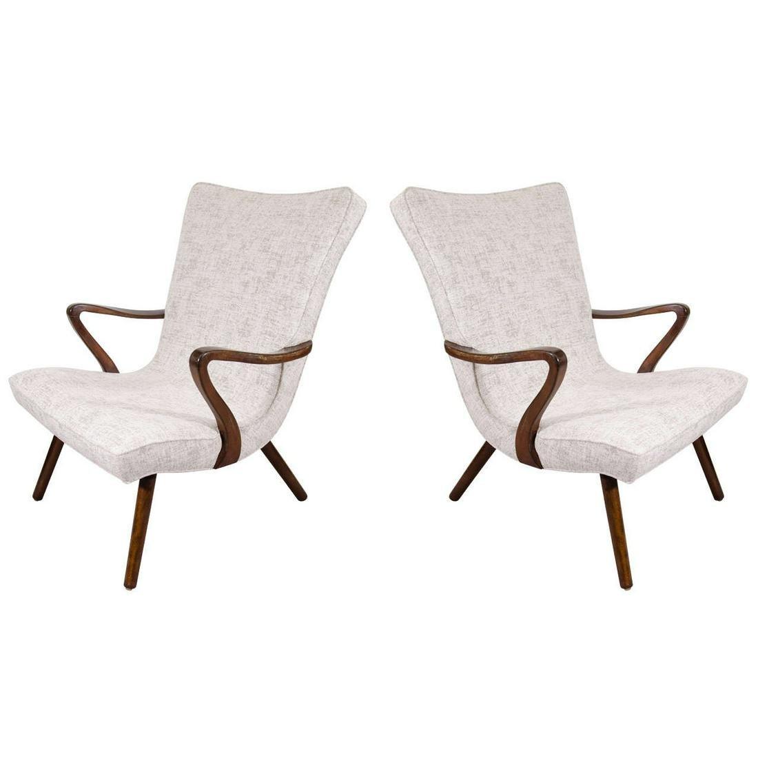 Scandinavian Modern Wingback Armchairs, Pair