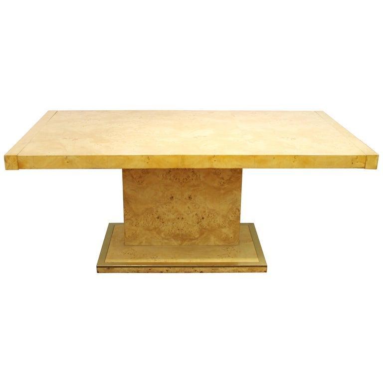 Milo Baughman Style Burl Wood Dining Table