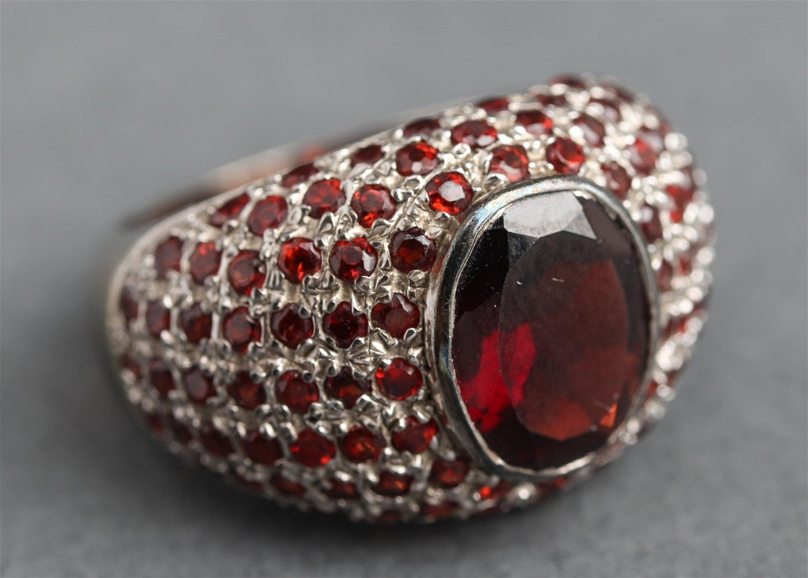 Silver Garnet Dome Style Ring