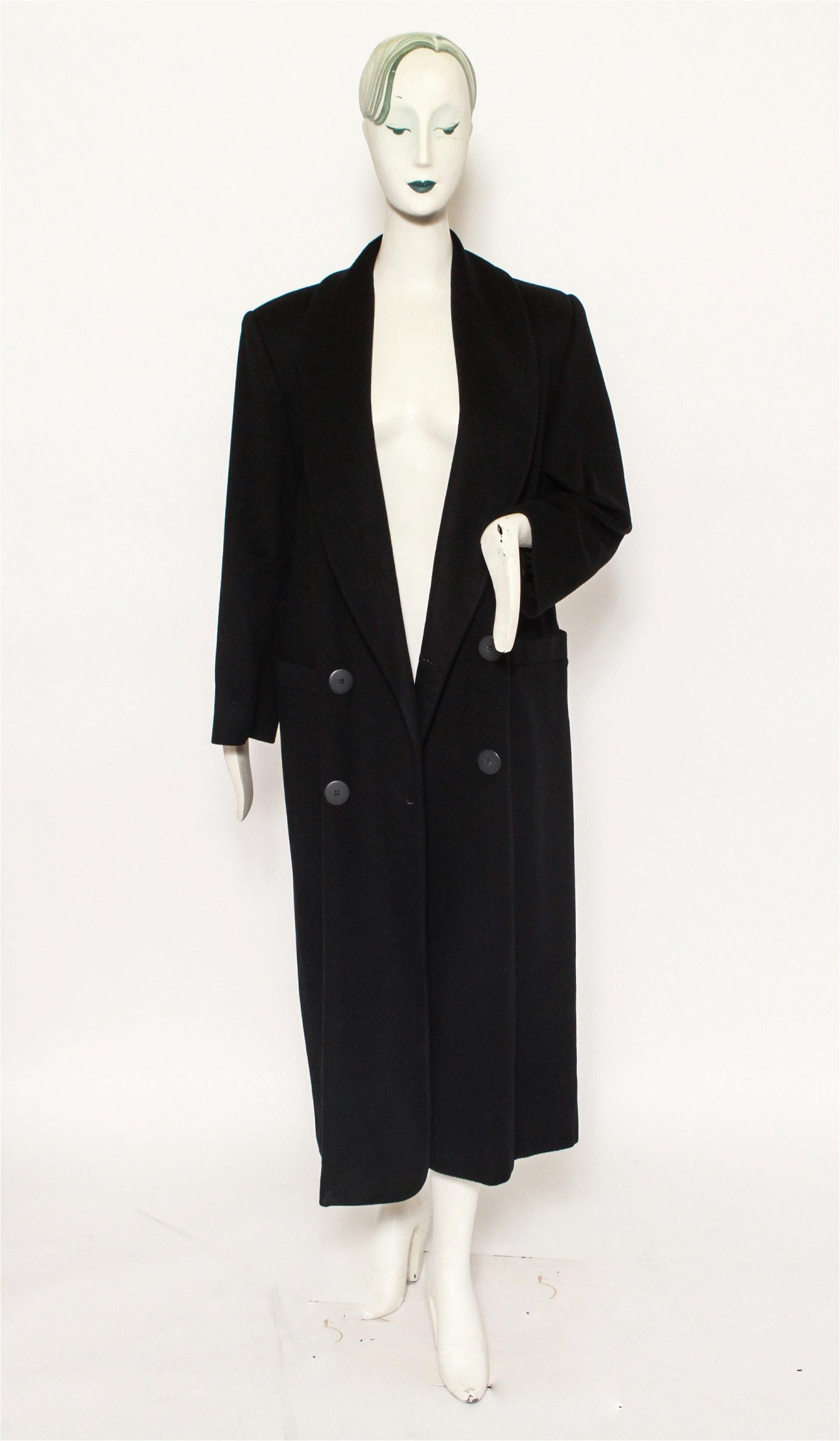Chrisian Dior Loro Piana Black Cashmere Long Coat