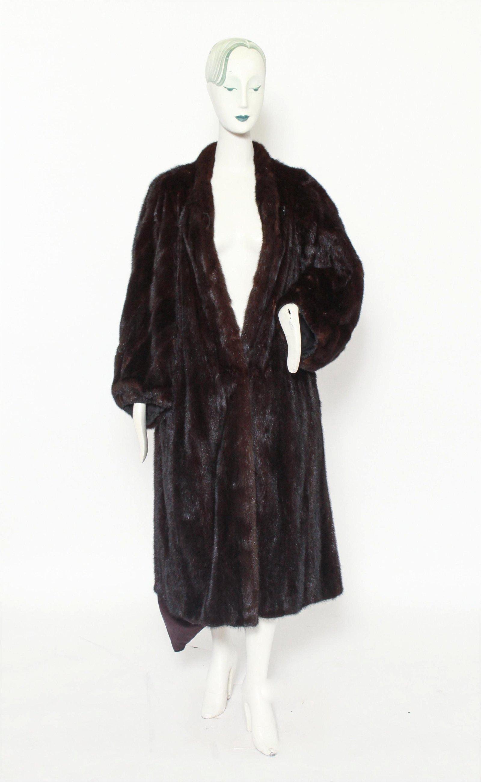 Women's Long Black Mink Fur Coat