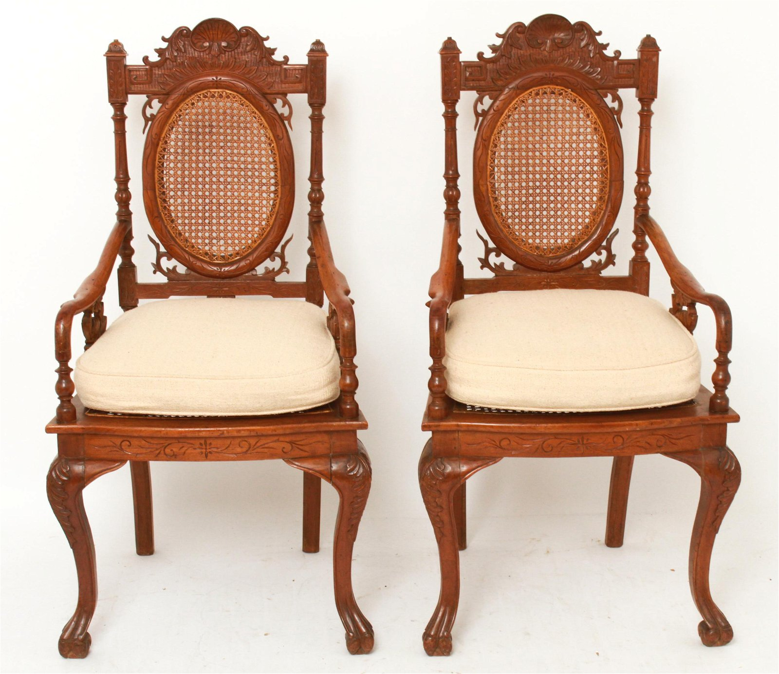 Victorian Eastlake Carved Oak Wood Arm Chairs Pair