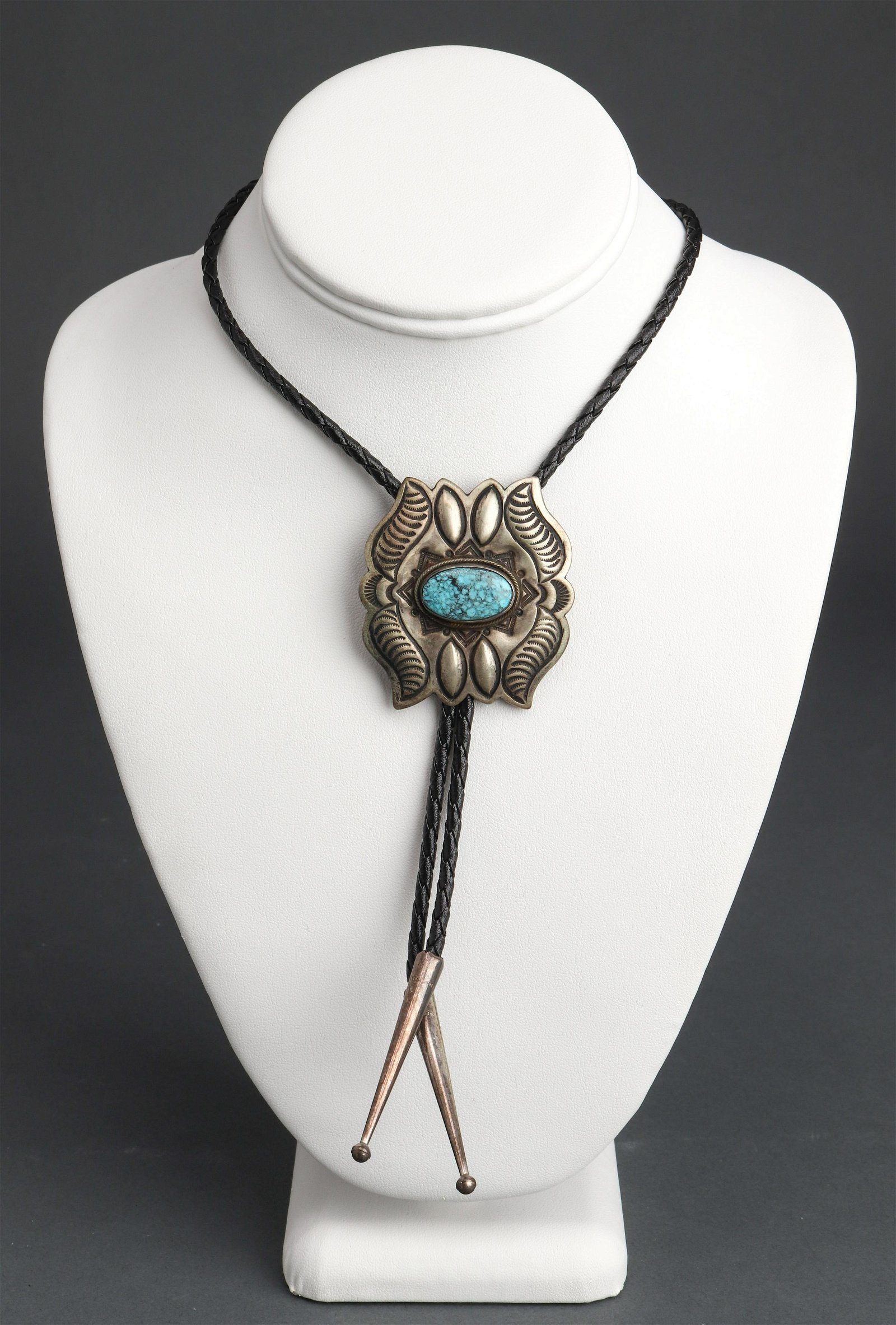 Navajo Silver & Turquoise Leather Lariat Necklace