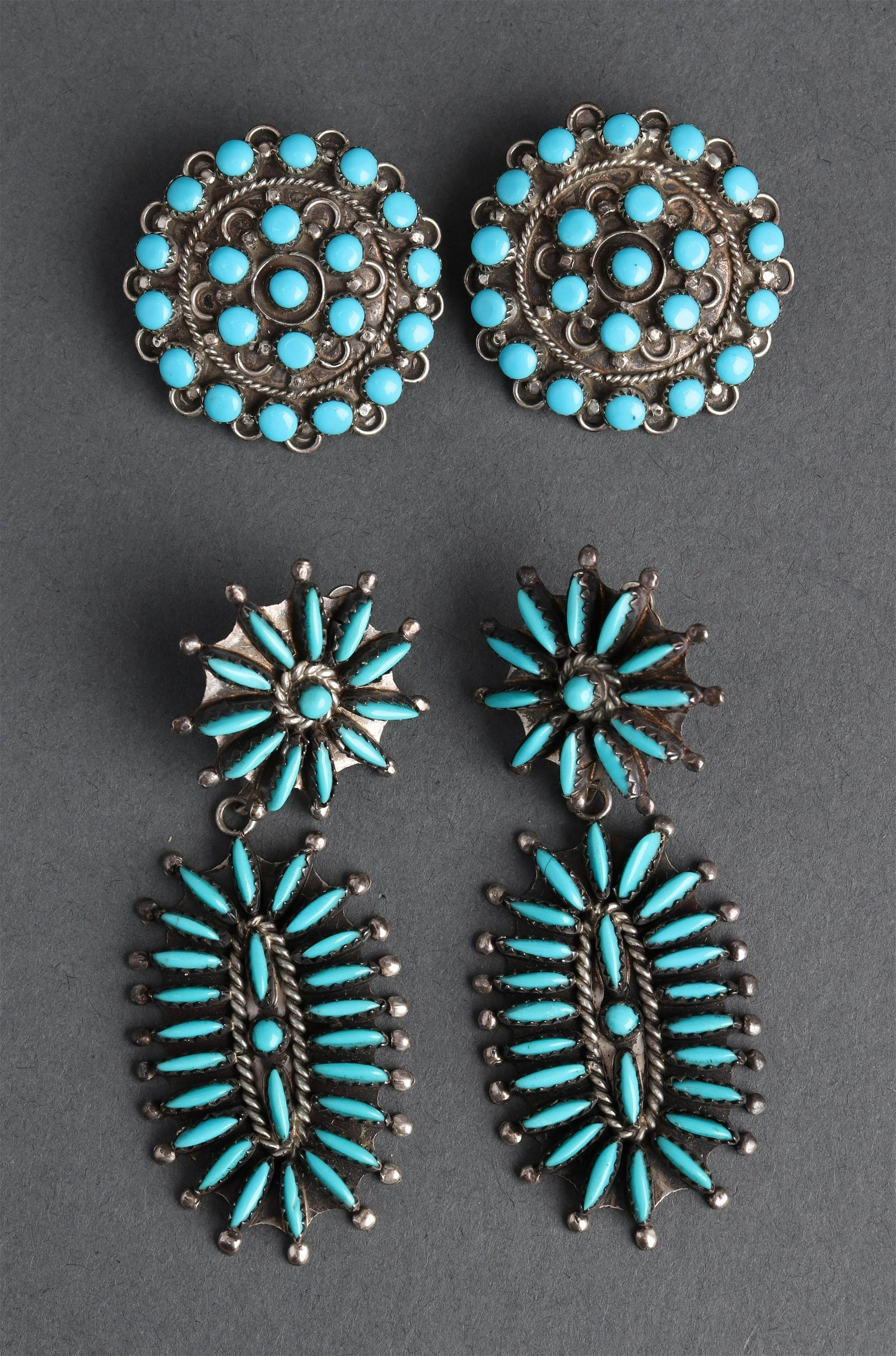 Group of Navajo Silver Turquoise Earrings 2 Pr