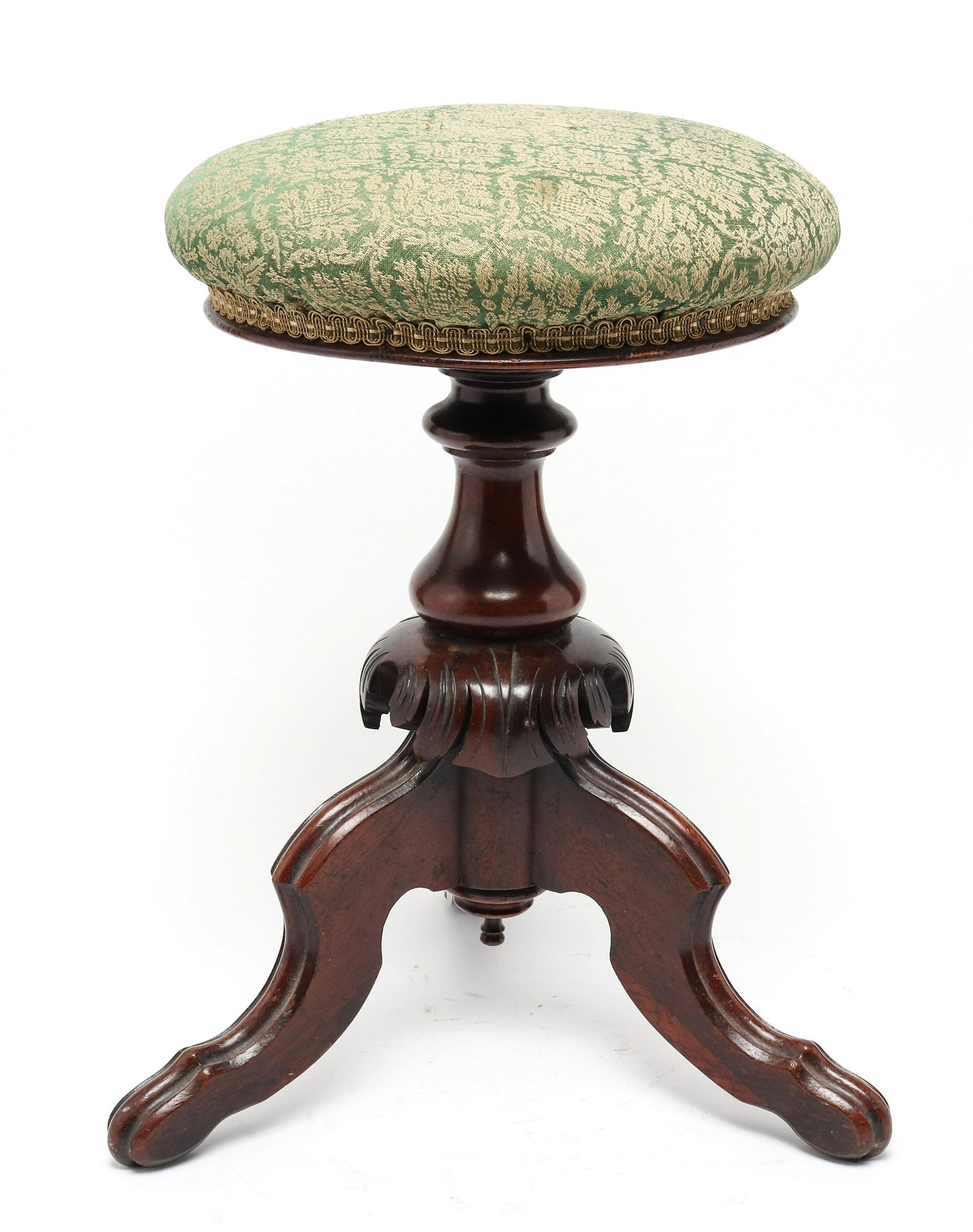 Antique Victorian Manner Carved Wood Music Stool