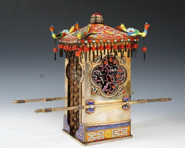1004: Chinese Silver & Enamel Miniature Carriage