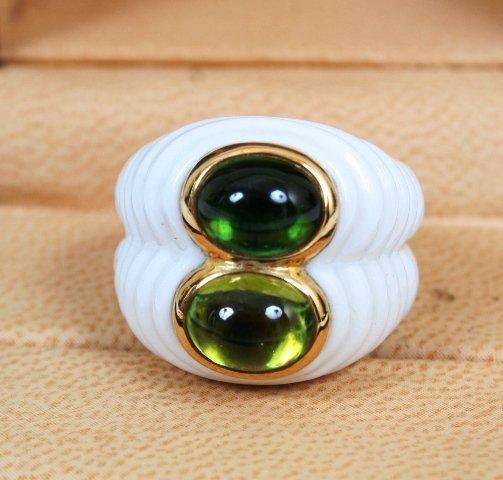 1012: Bulgari Cabochon 18k Ring with Box
