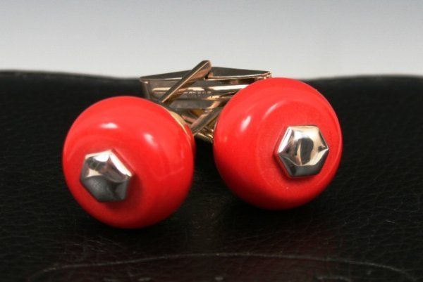 1013: Mariana B Gold  Cuff Links with Box