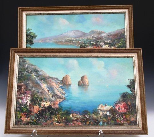 "1019: Pair of Pietro De Simone Paintings ""Naples"" Mid c"