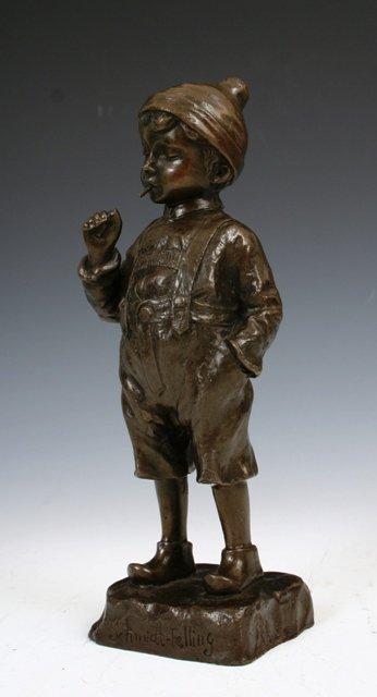1021: German 19th c. Bronze Statue Schmidt-Felling