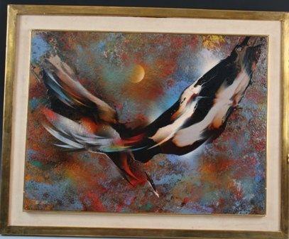 """1190: Leonardo Nierman """"The Phoenix"""" Oil on Masonite"""