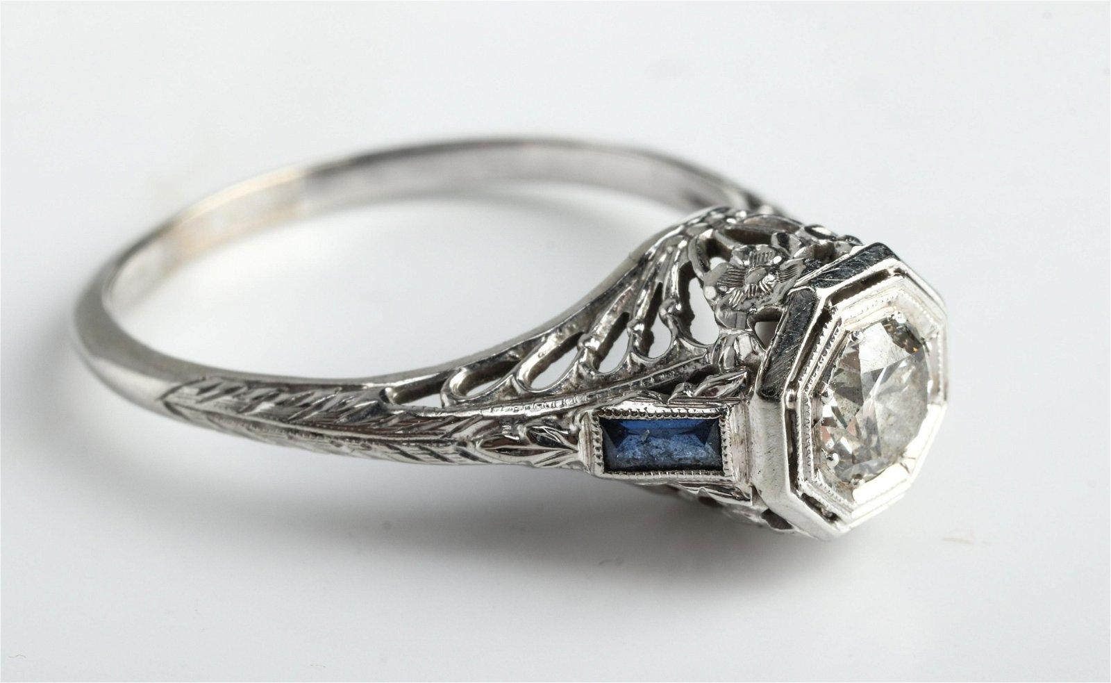 Edwardian 18K White Gold Diamond & Sapphire Ring