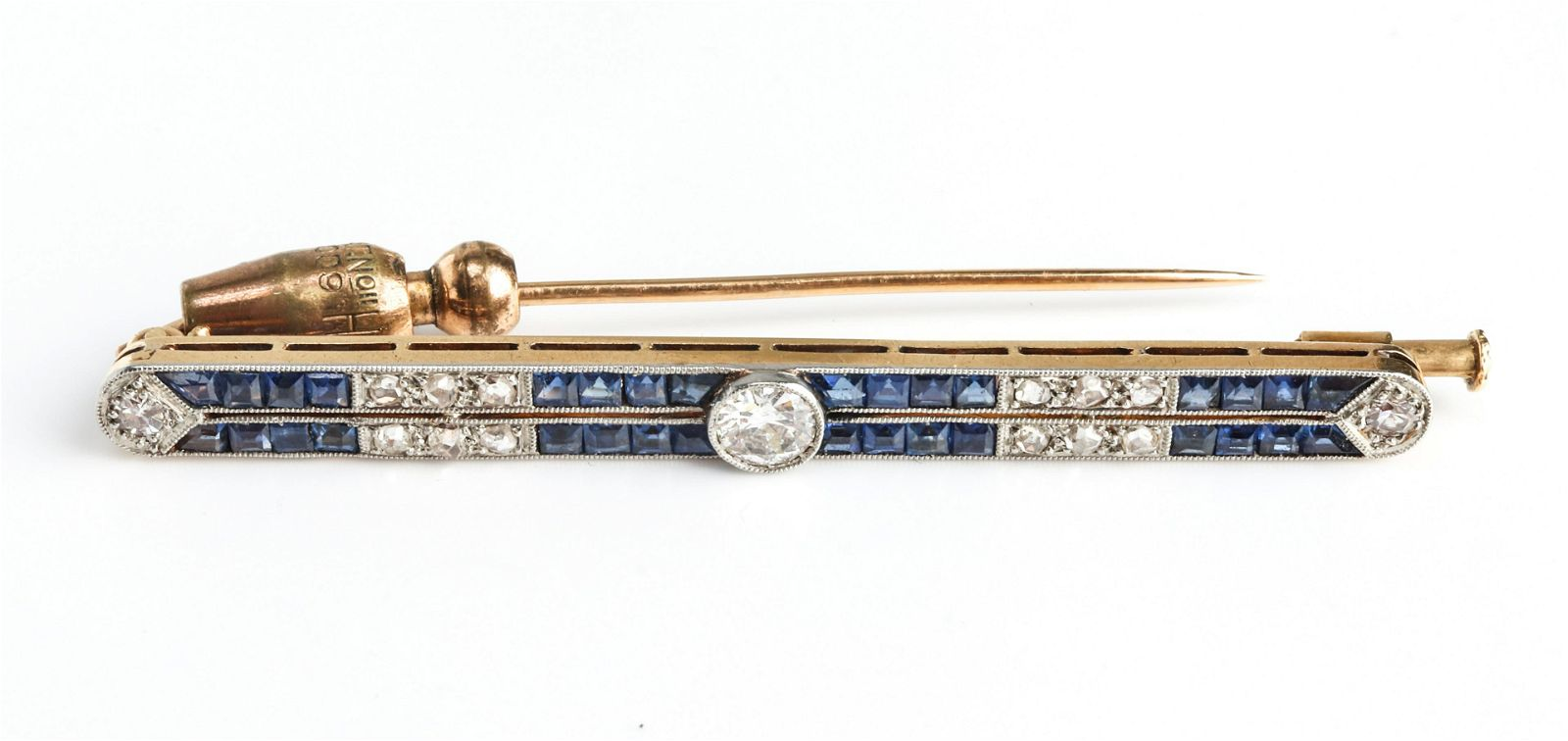Art Deco 18K Yellow Gold Diamond Sapphire Pin