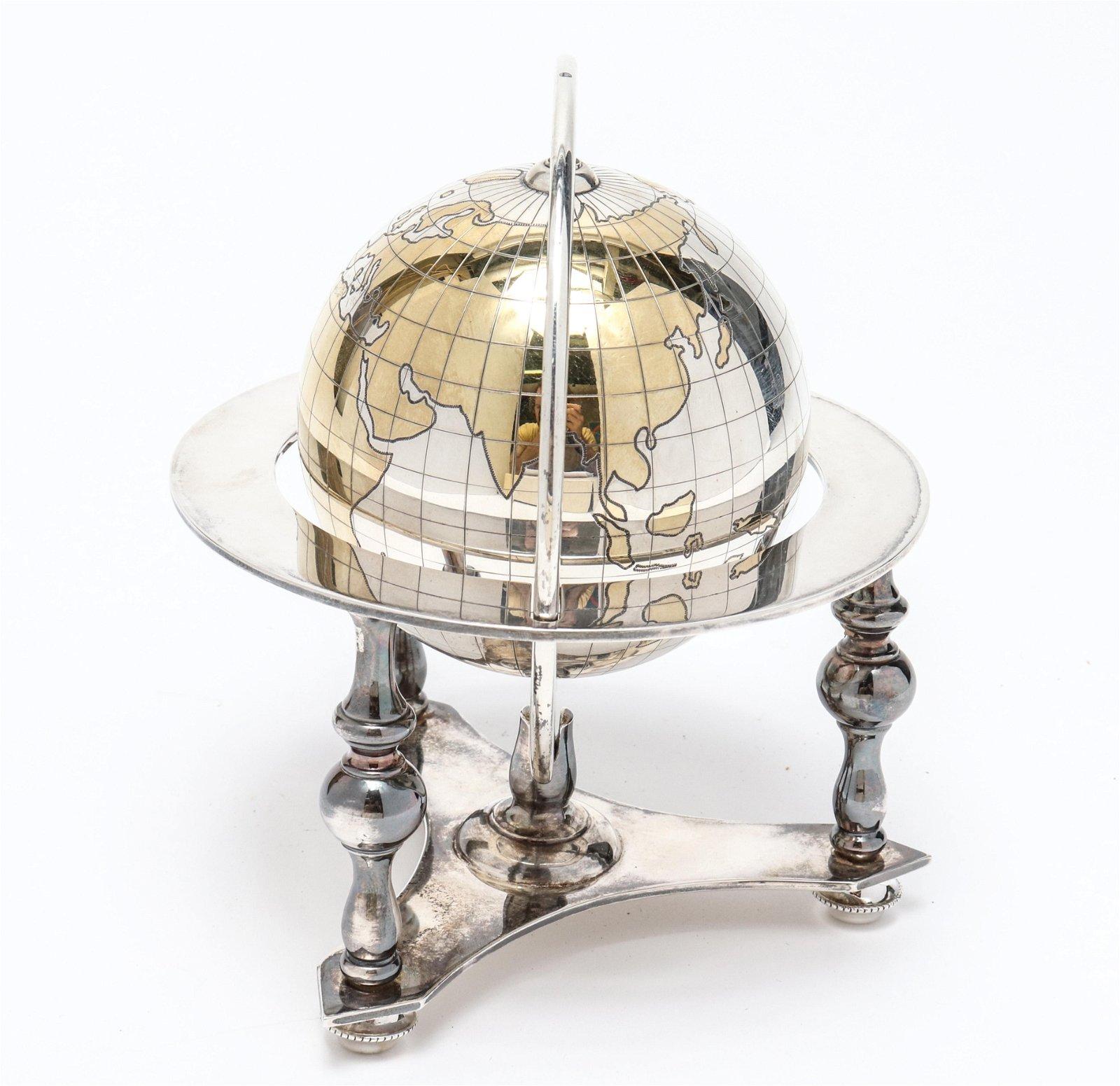 Bulgari Sterling Silver Table Globe, Vintage