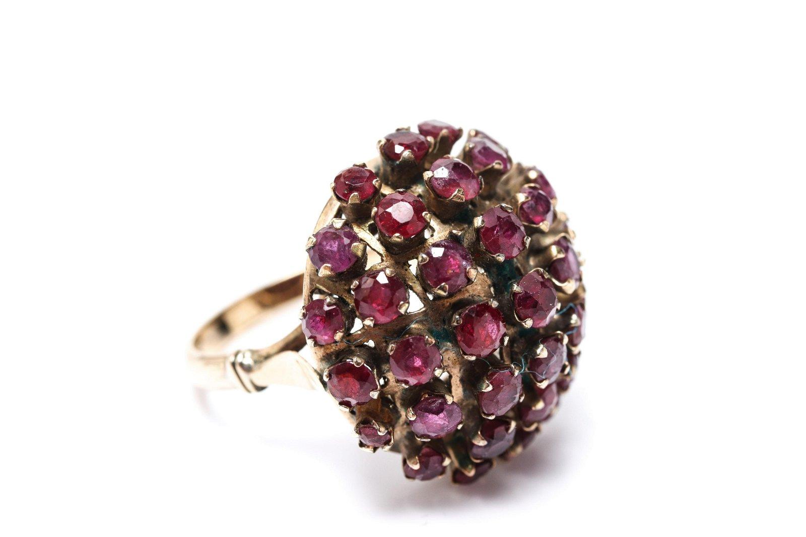 Vintage 12K Rose Gold & Ruby Dome Ring