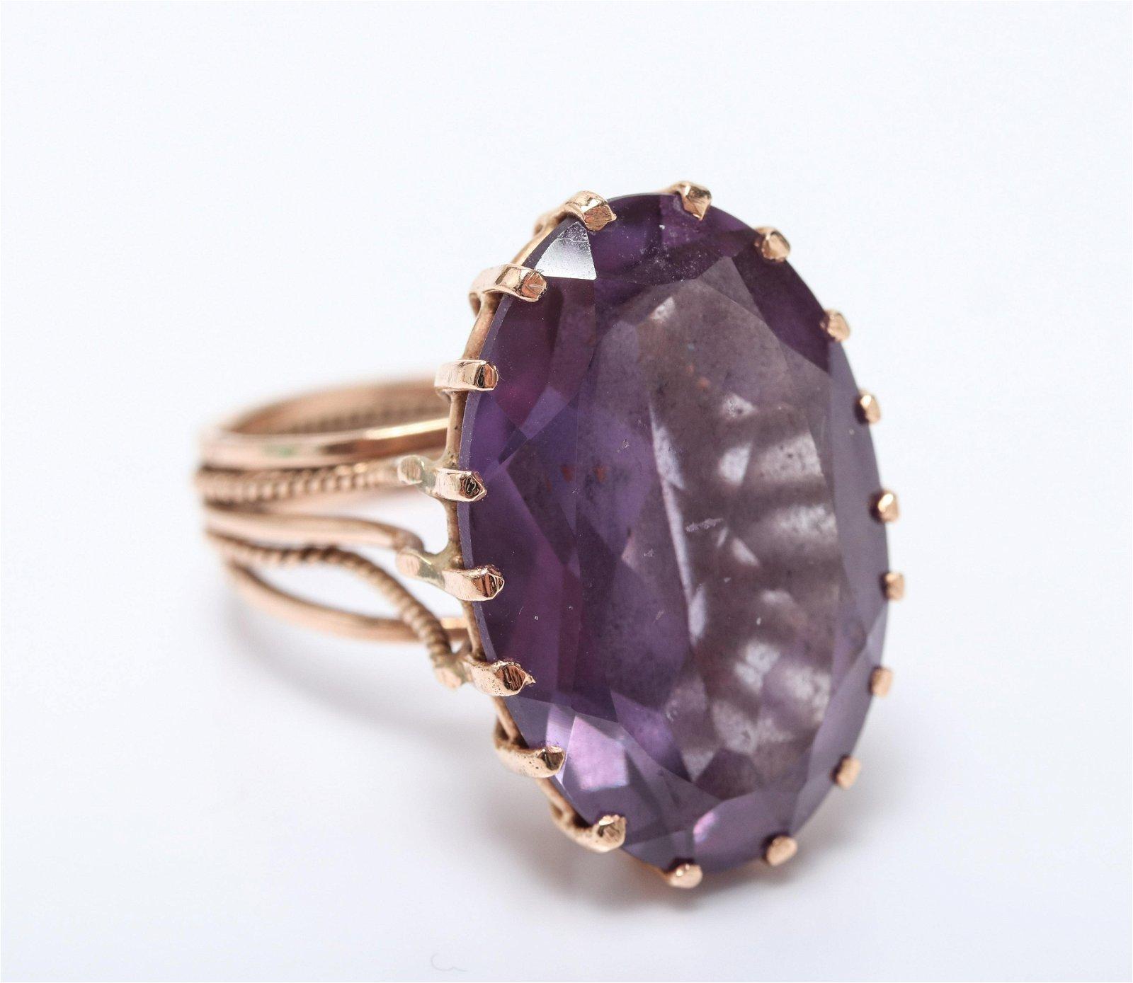 Vintage 14K Rose Gold Amethyst Ring