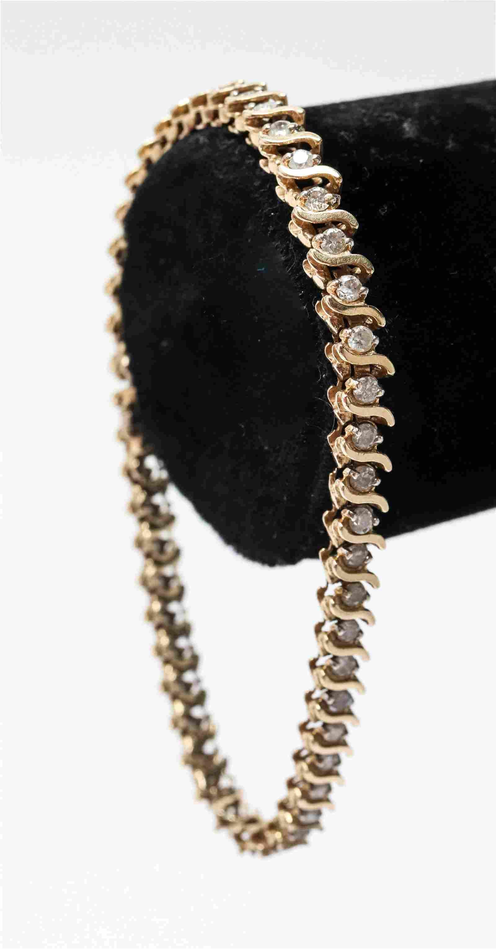 14K Yellow Gold & Diamond S-Link Tennis Bracelet