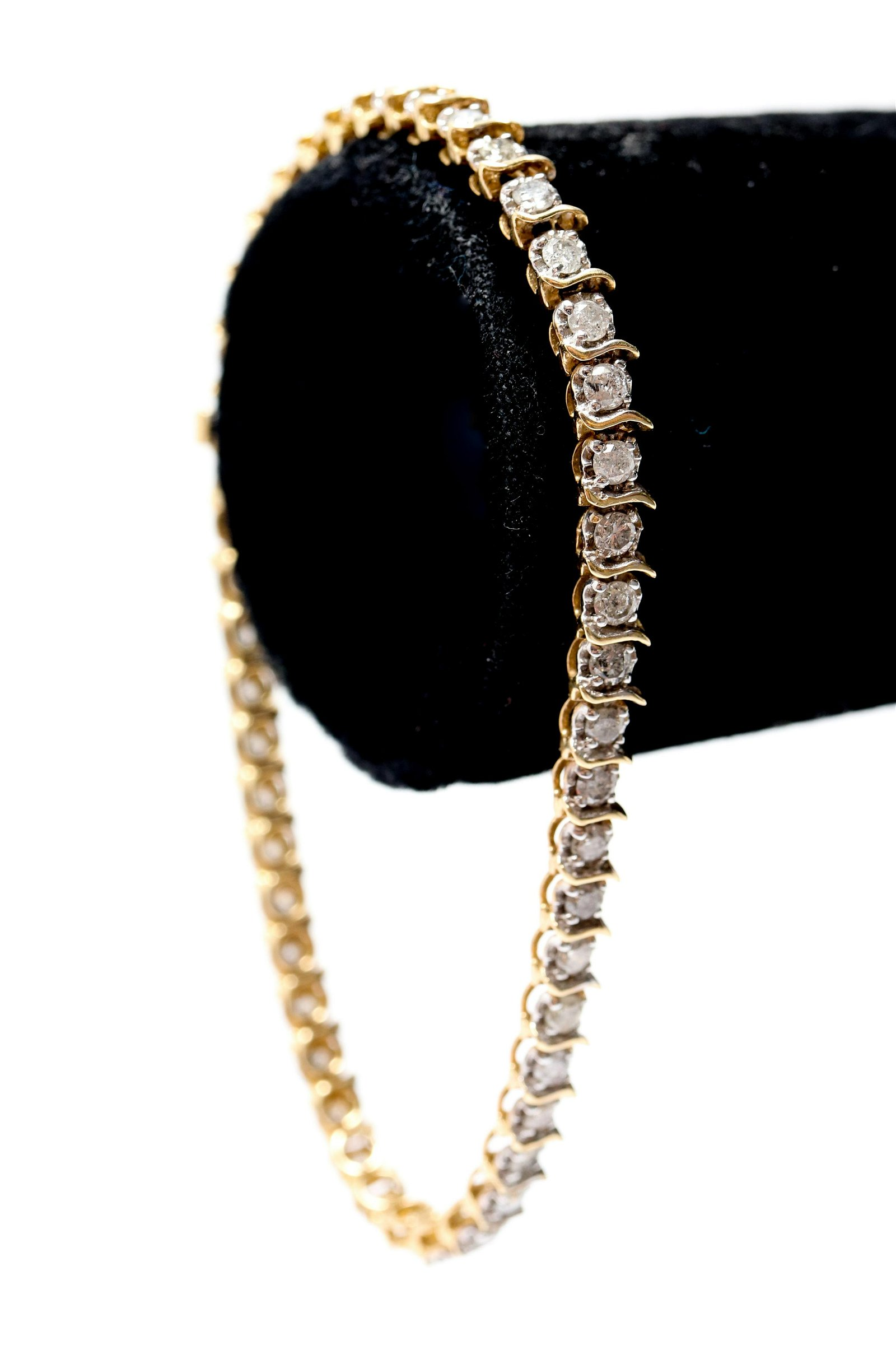 "14K Yellow Gold Diamond ""S-Link"" Tennis Bracelet"