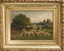 "Charles T. Phelan ""Grazing Sheep"" Oil on Canvas"
