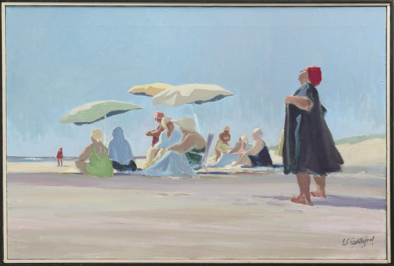 Edward Scatter-Good Beach w Figures Oil on Canvas