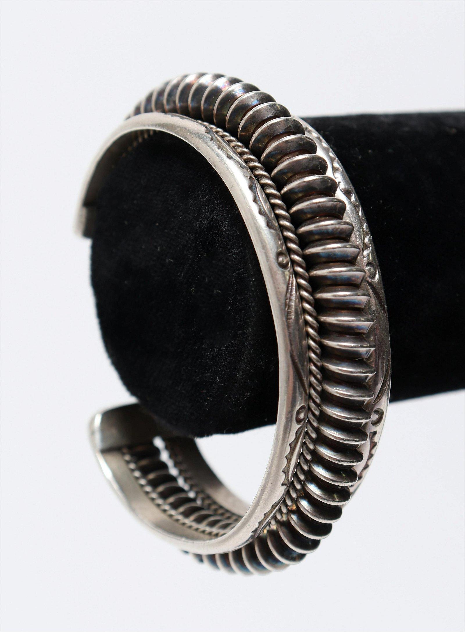 Navajo Native American Silver Cuff Bracelet