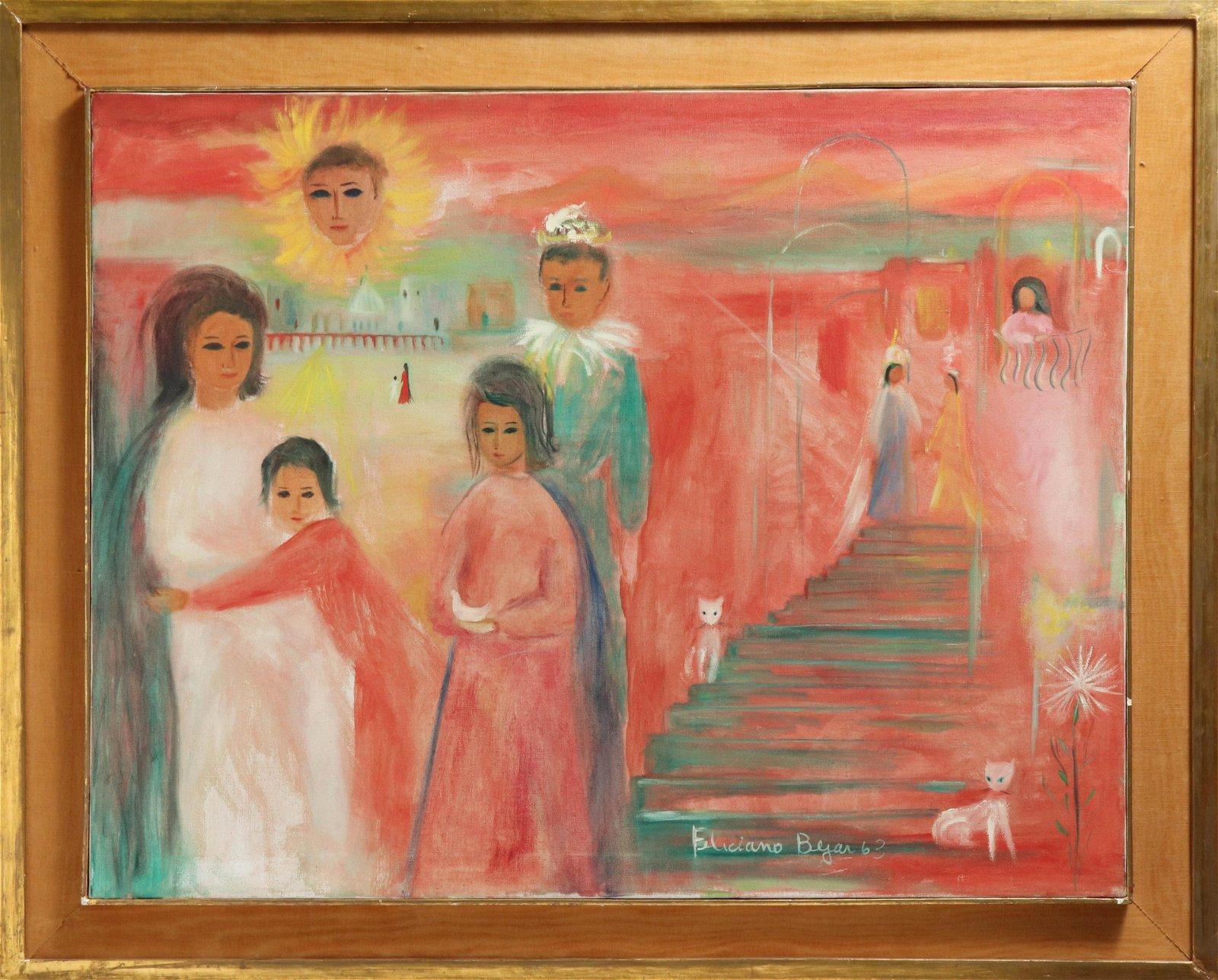 """Feliciano Bejar """"El Pequeno Bufon"""" Oil on Canvas"""