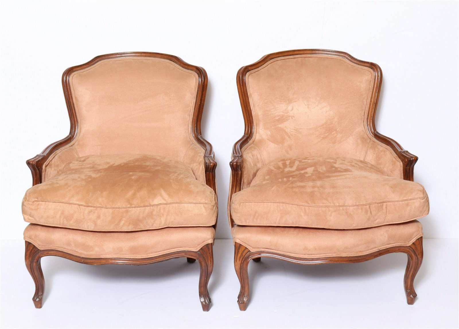 French Louis XV Manner Bergere Armchairs, Pair