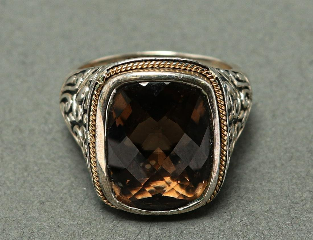 Effy 18K Yellow Gold & Silver Smoky Quartz Ring