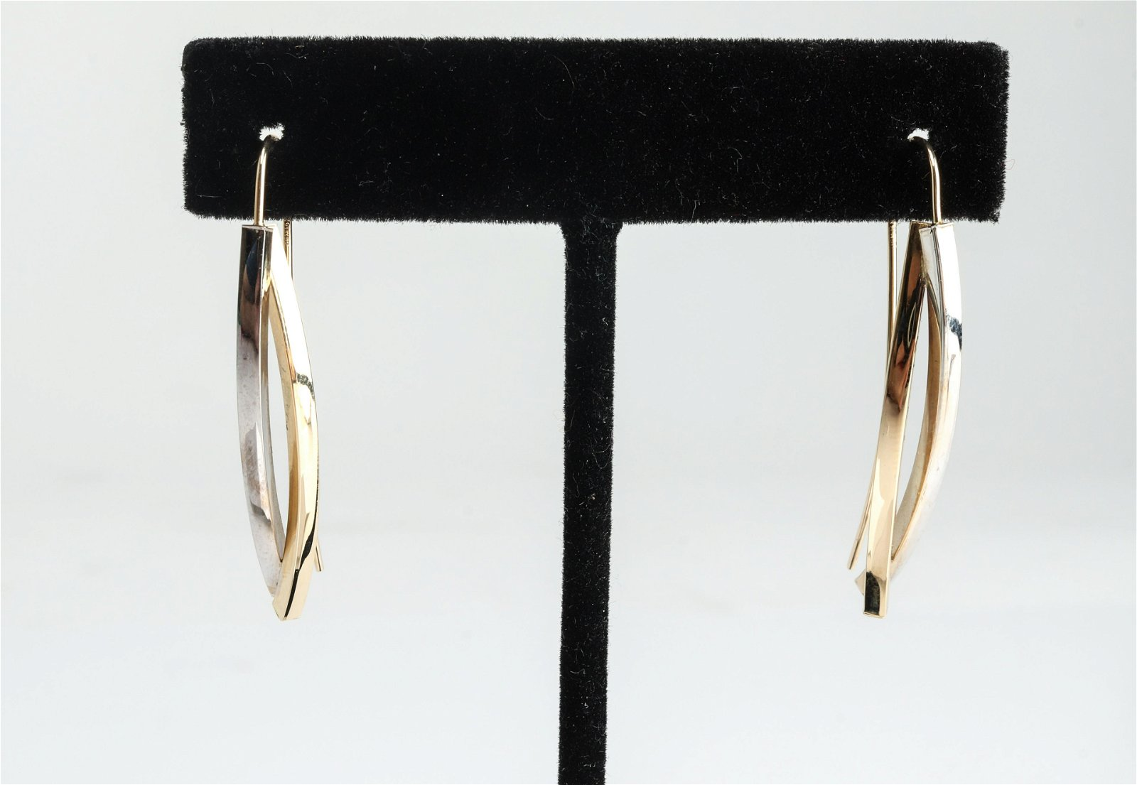14K Yellow Gold & White Gold Sculptural Earrings