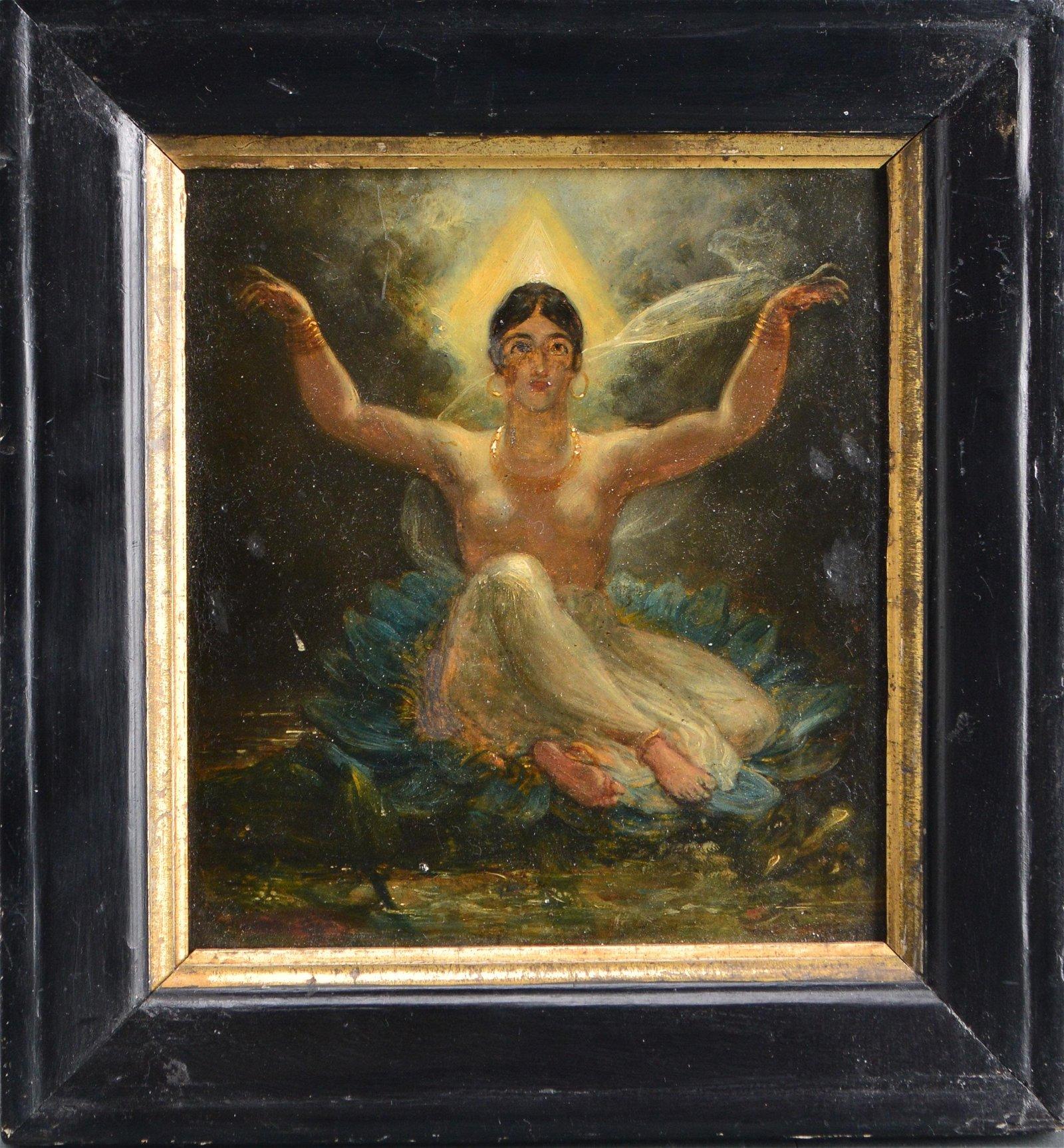 Folk Art Female Mystic Oil on Board