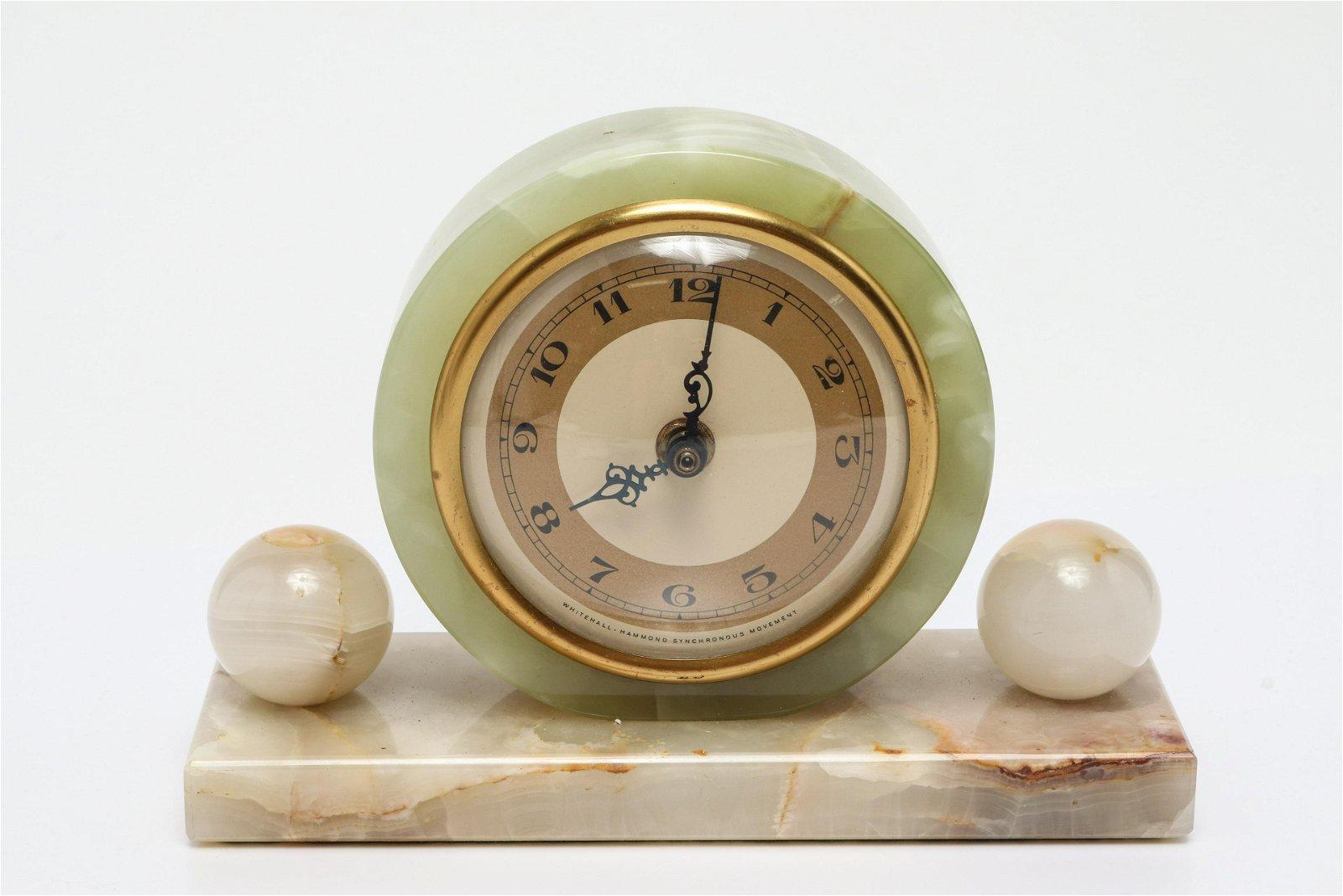 Whitehall Hammond Modern Onyx Mantel Clock