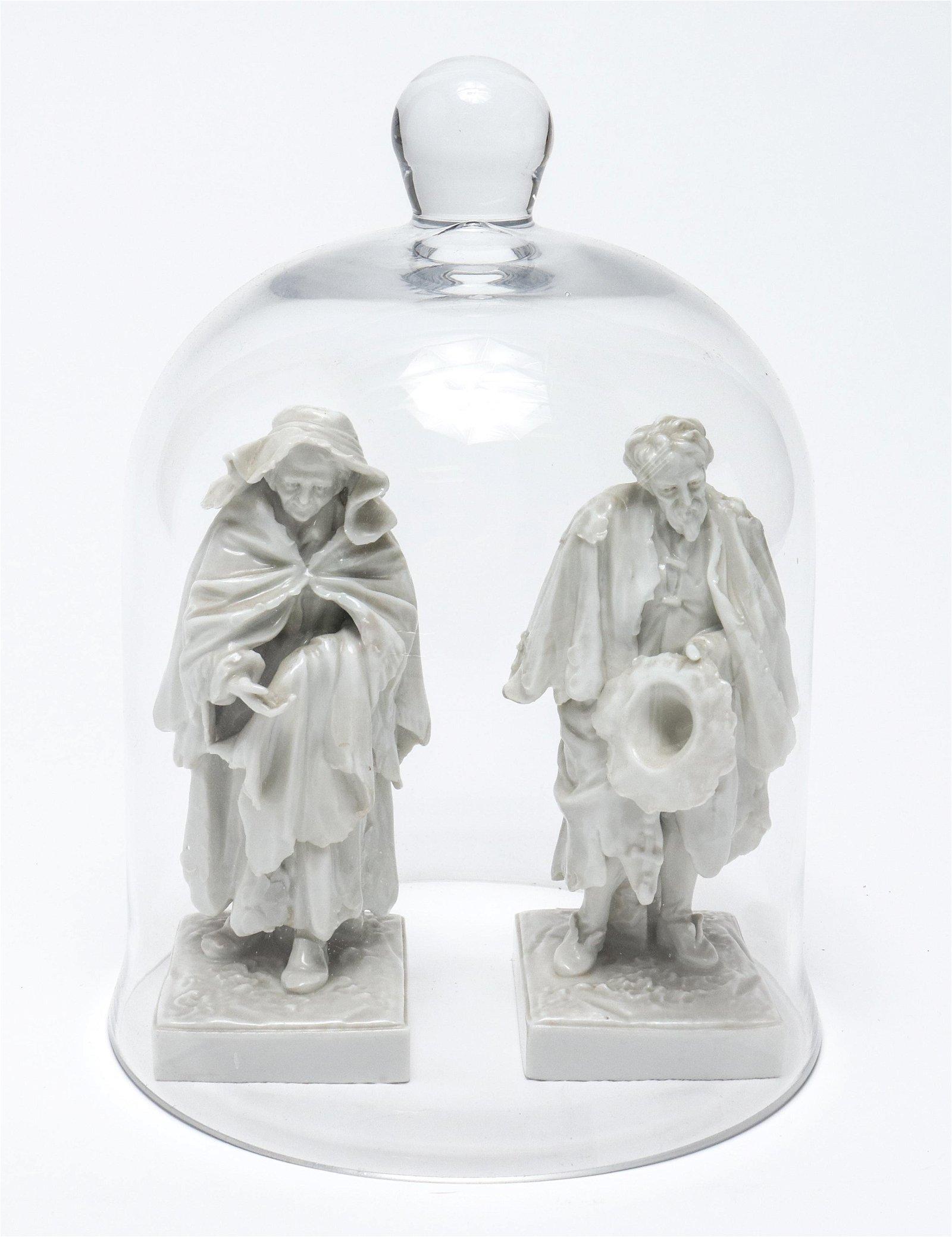 Antique Capodimonte Beggars w Glass Dome