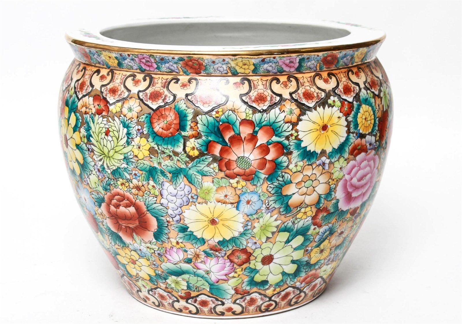 Chinese Floral Satsuma Porcelain Koi Bowl