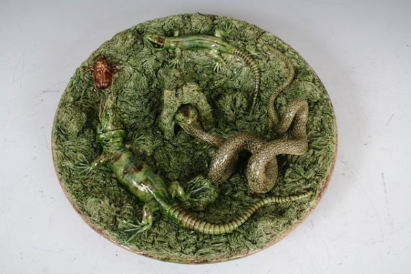 2: Large Palissy Wallplate with Lizards, Snake, Beetles