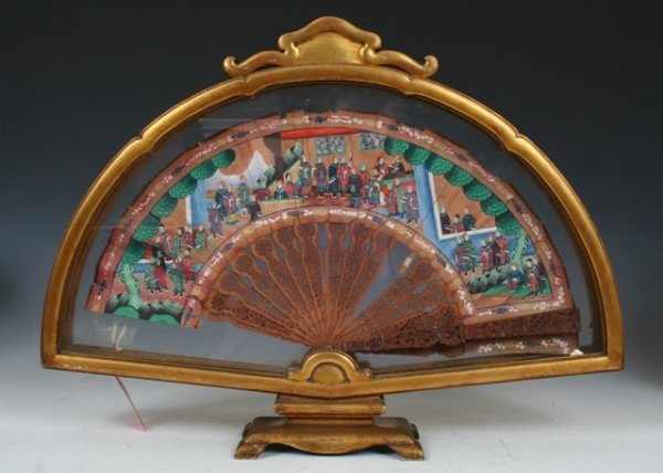 17: Framed Late 19th c Chinese Fan