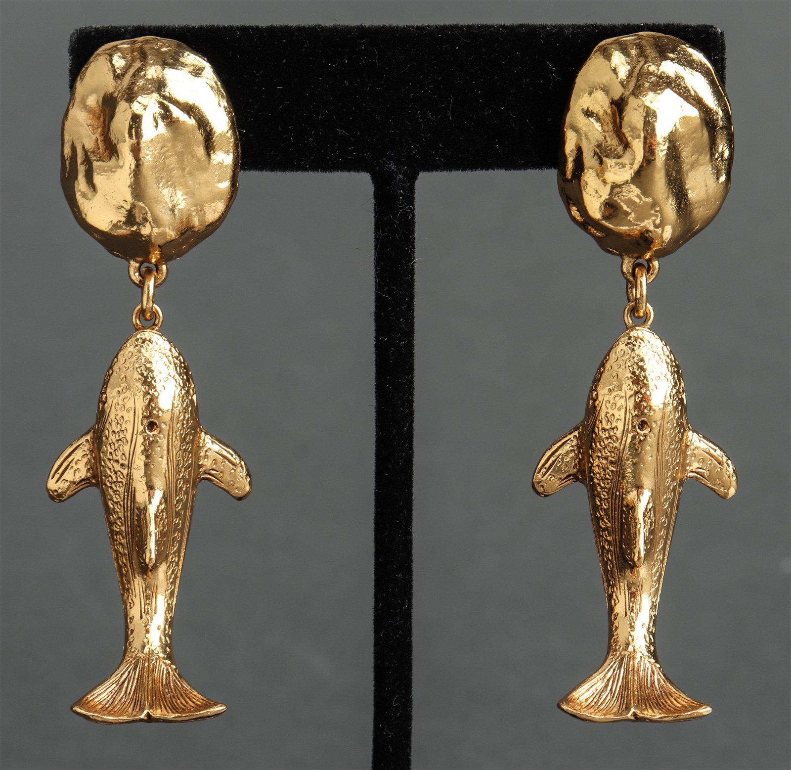 Christian Dior Runway Whale Motif Earrings