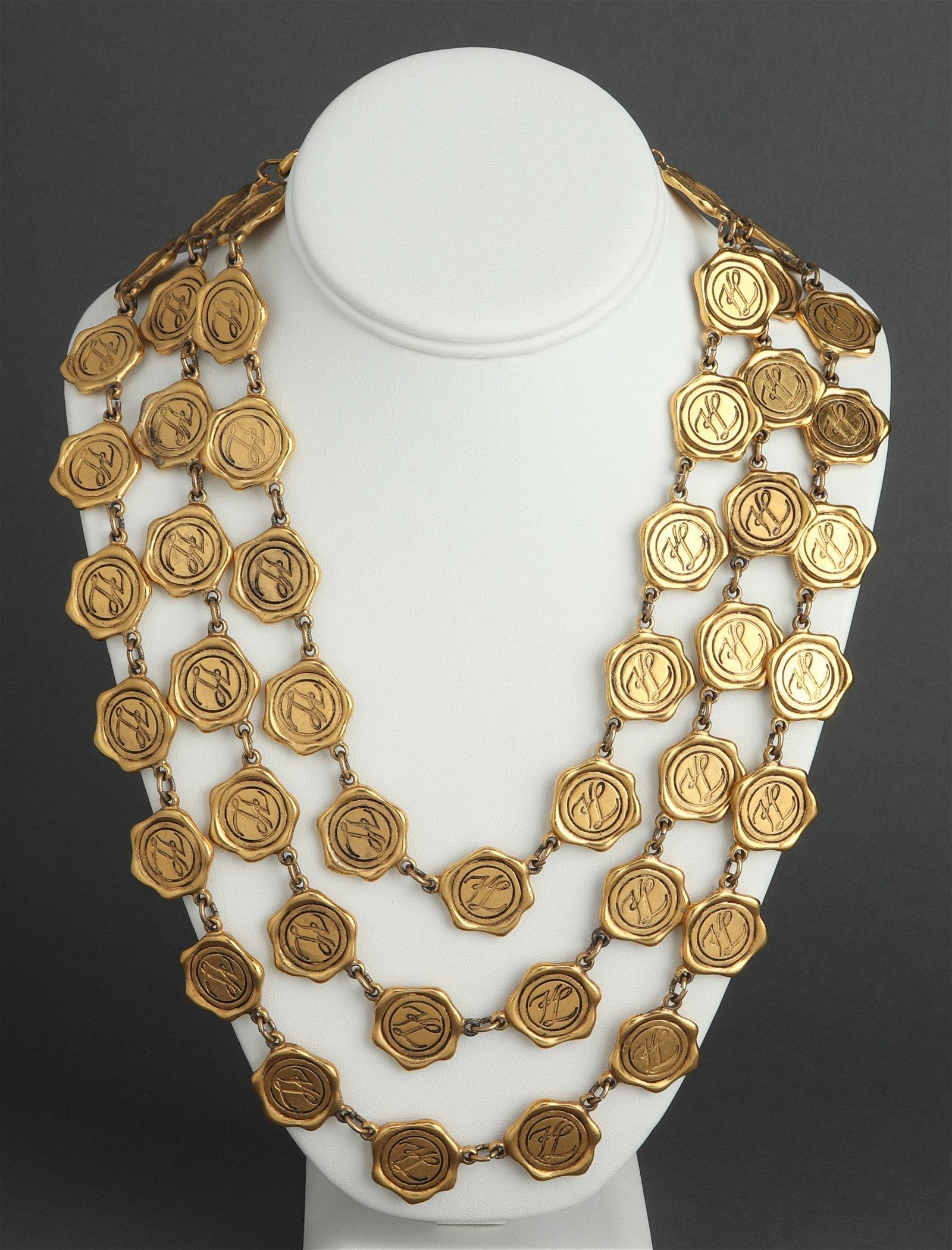 Karl Lagerfeld Runway Medallion Three-Row Necklace