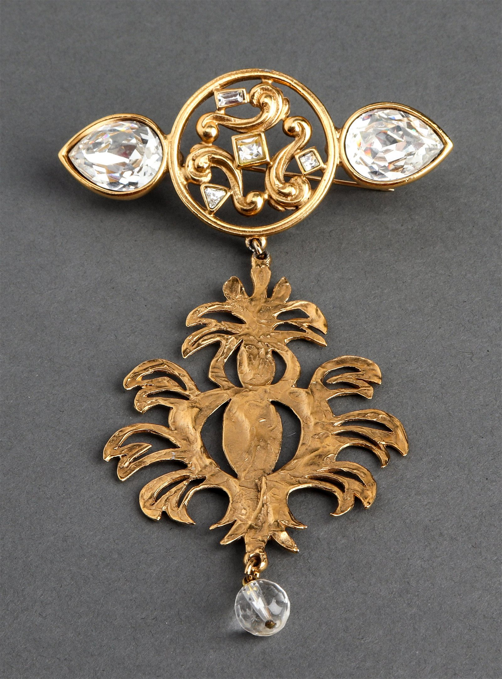 Yves Saint Laurent Gold-Tone Pendant Brooch