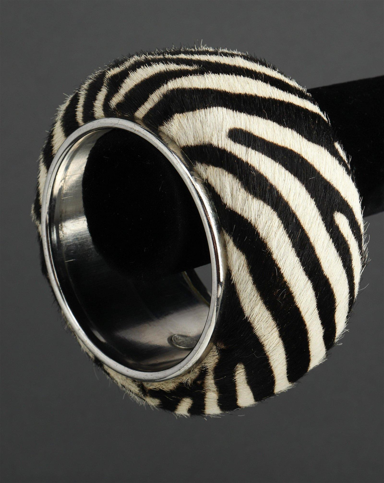 Christian Dior Zebra Pony Hair Bangle Bracelet