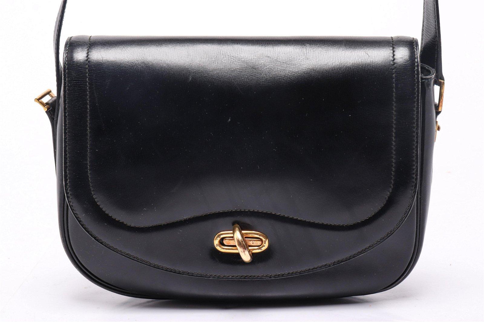 Hermes Sac Moto Black Leather Handbag