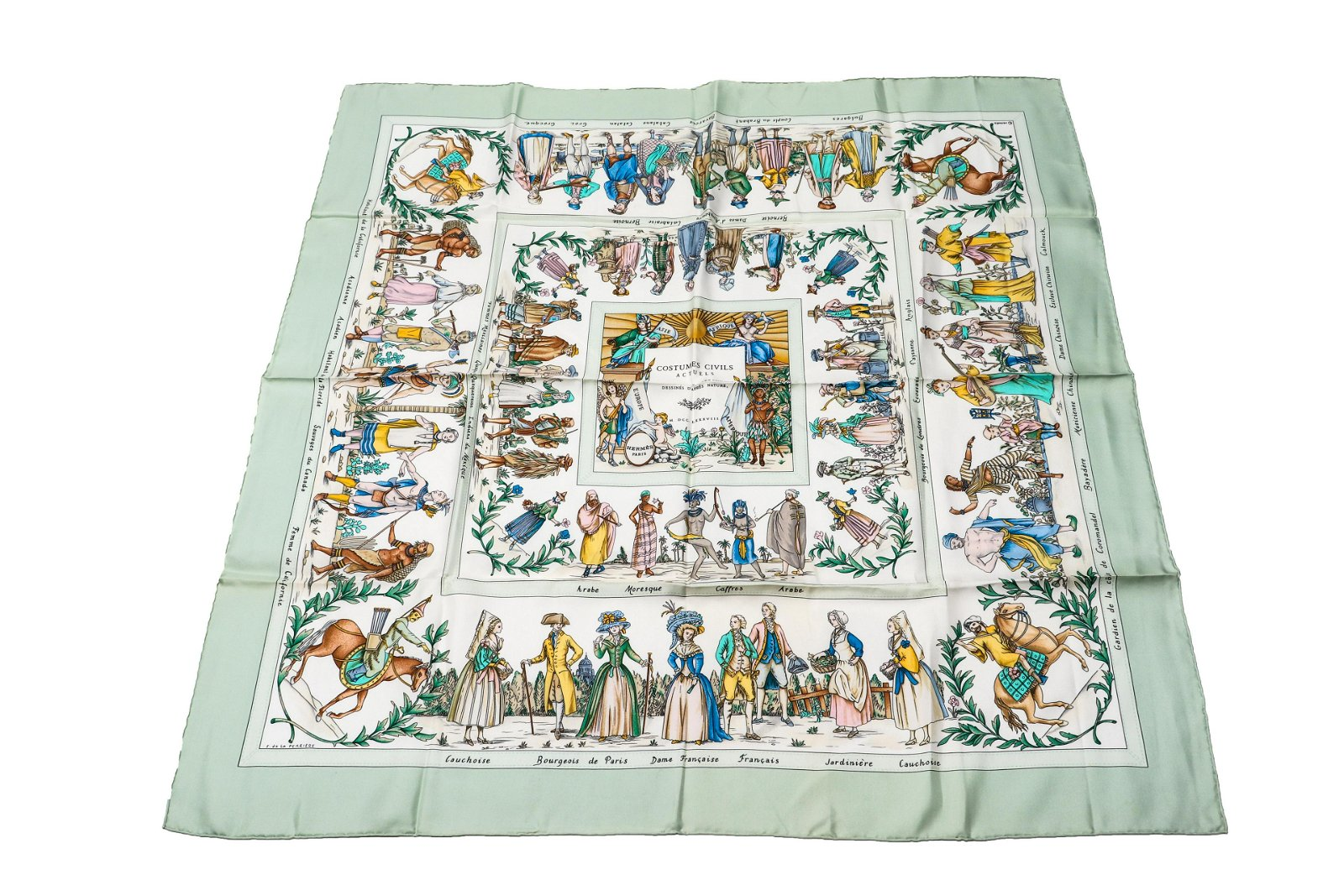 """Hermes """"Costumes Civils Actuels """" Silk Scarf"""