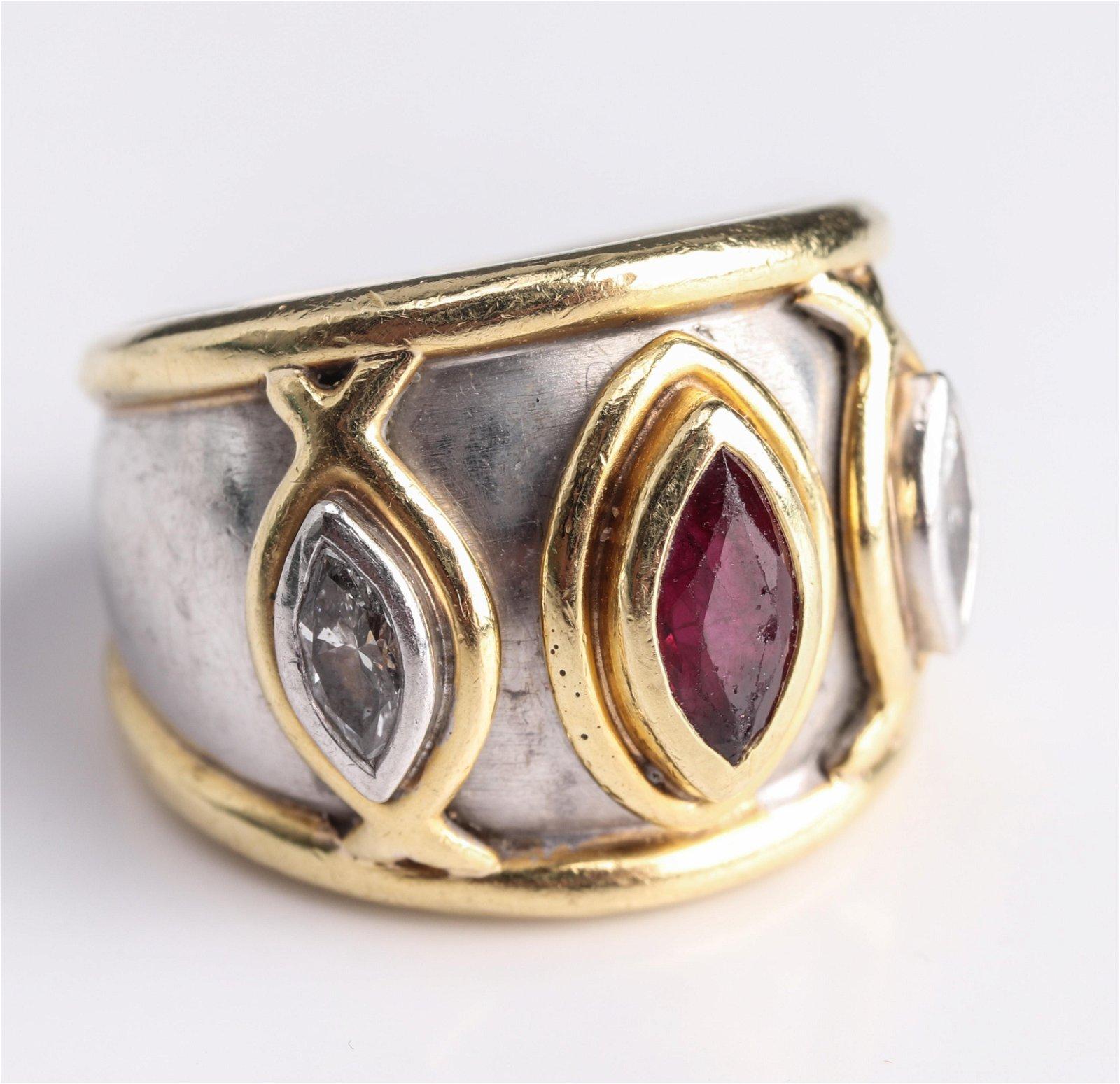 Boris Lebeau Platinum & 18K Diamond & Ruby Ring