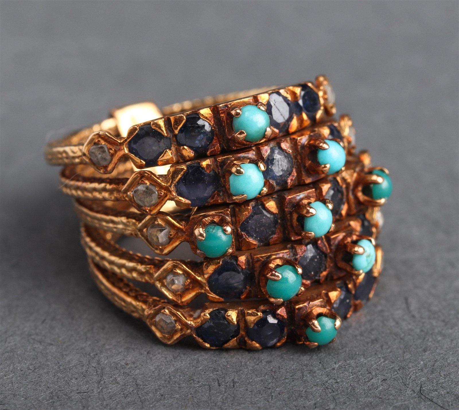 18K Yellow Gold Diamond, Turquoise & Sapphire Ring