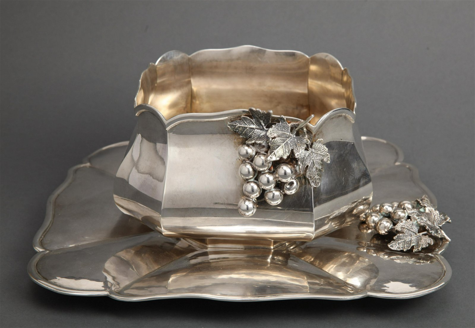 Ornate Silver Center Bowl & Tray with Grape Motif