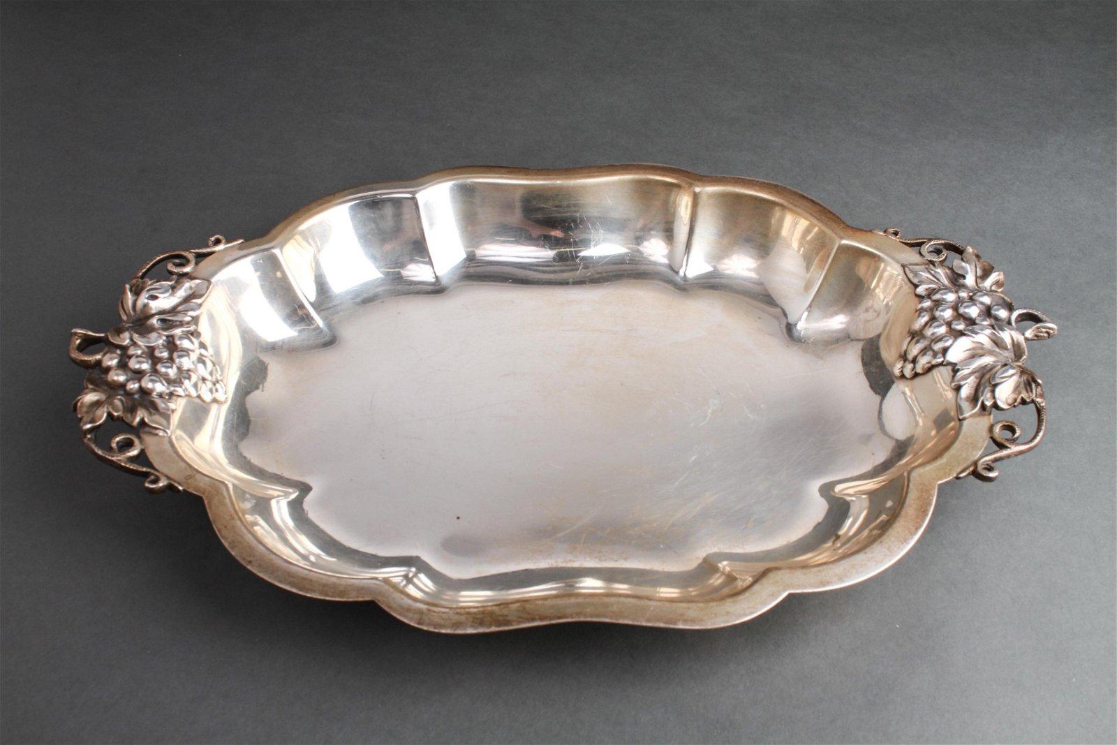 American Silver Grape Motif Shaped Oblong Tray