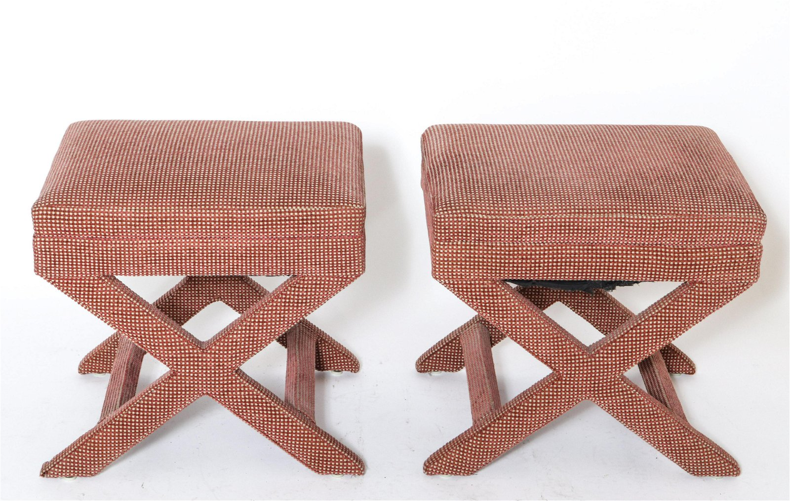 Mid-Century Billy Baldwin Style X-Benches, Pair