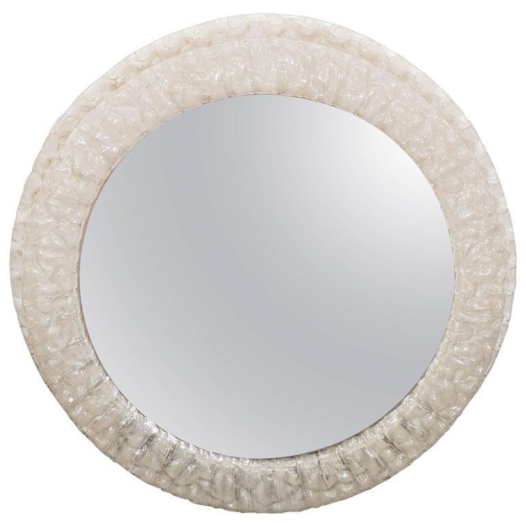 Mid-Century Modern Round Illuminated Mirror