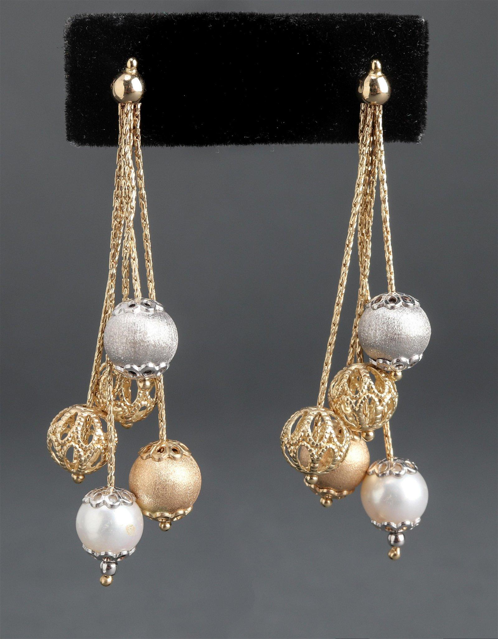 Milor 14K Yellow Gold, White Gold & Pearl Earrings