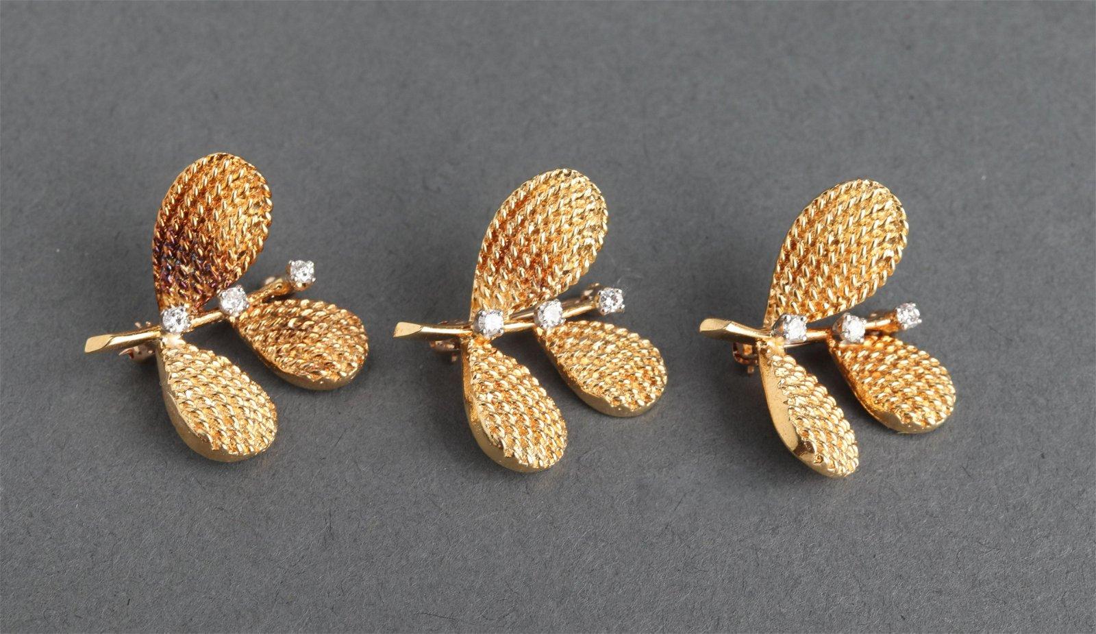 Collection of Three 18K Yellow Gold & Diamond Pins