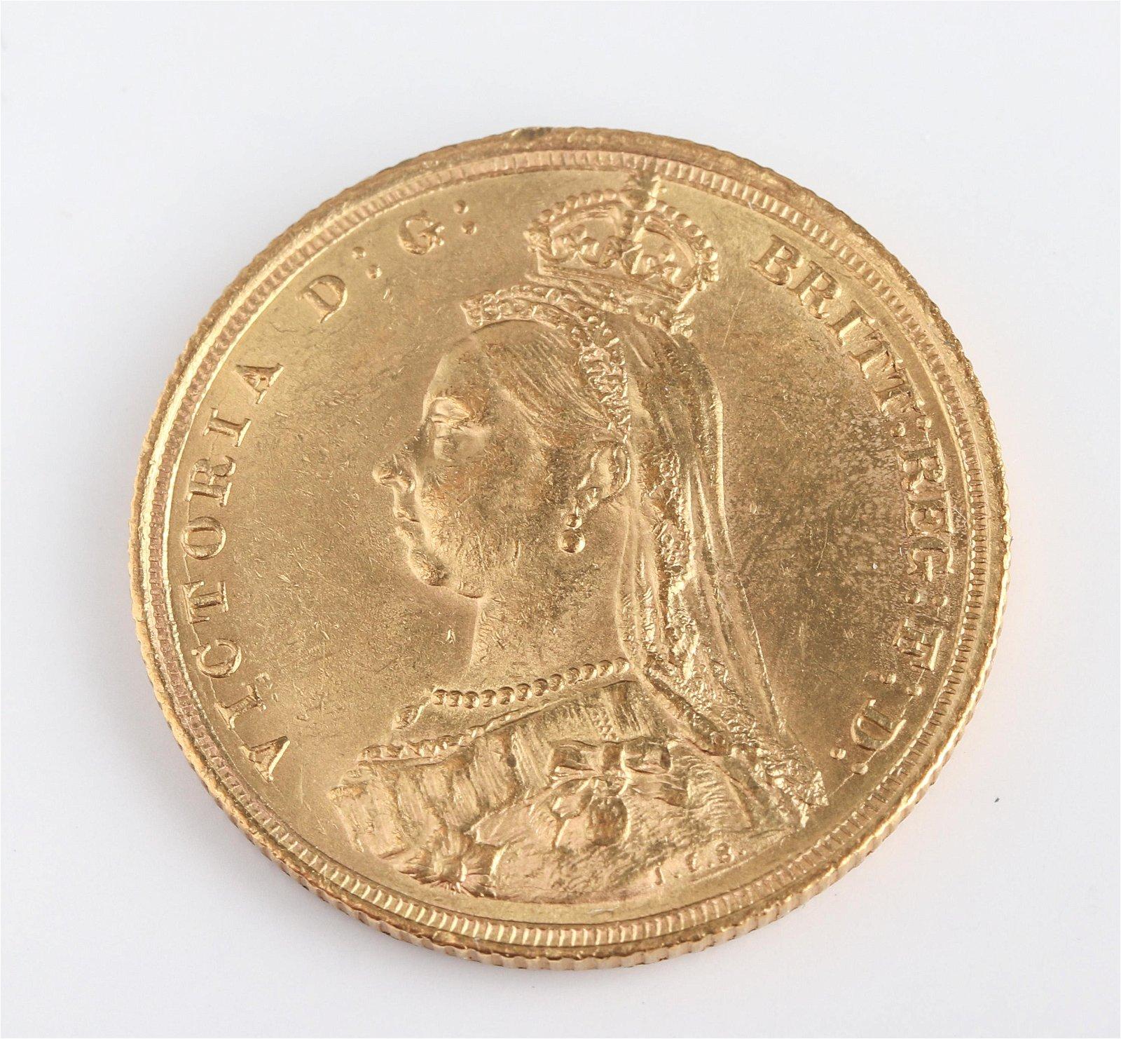1889 S Australia Victoria Sovereign Gold Coin